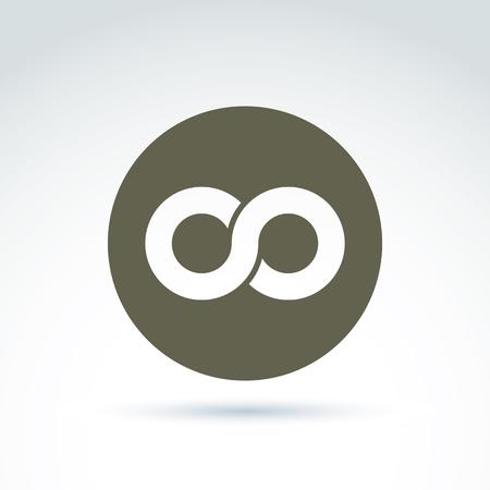 Vector icono infinito aislado en fondo blanco, ilustración de un símbolo de la eternidad coloca en un círculo.