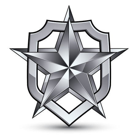 3d heraldic vector template with pentagonal silver star, dimensional royal geometric medallion isolated on white background.