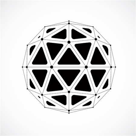 facets: 3d vector low poly spherical object with black connected lines and dots, geometric monochrome wireframe shape. Perspective orb created with triangular facets. Illustration