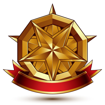 Complicated vector golden design element with pentagonal decorative star and red curvy ribbon. 3d luxury medallion isolated on white background. Round festive dimensional badge with refined tape.