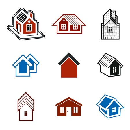 holiday house: Different houses vector icons for use in graphic design, set of mansion conceptual symbols, abstract property images. Real estate business abstract emblems collection.