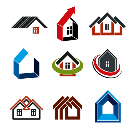 real estate industry: Growth trend of real estate industry, vector simple house icons. Abstract building with an arrow showing up.
