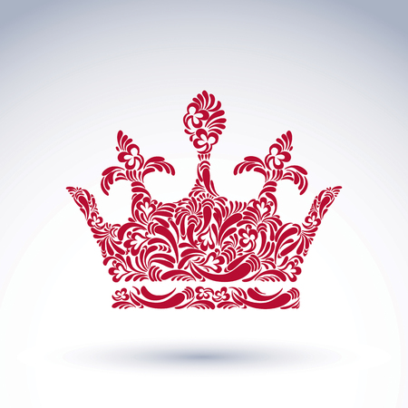 royal person: Bright flower-patterned majestic crown, best for use in graphic design. Classic royal vector symbol filled with abstract flowers and leaves, king accessory.