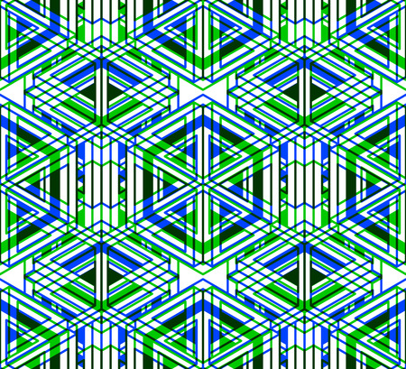 Illusive continuous colorful pattern, decorative abstract background with 3d geometric figures. Bright transparent ornamental seamless backdrop, can be used for design and textile.