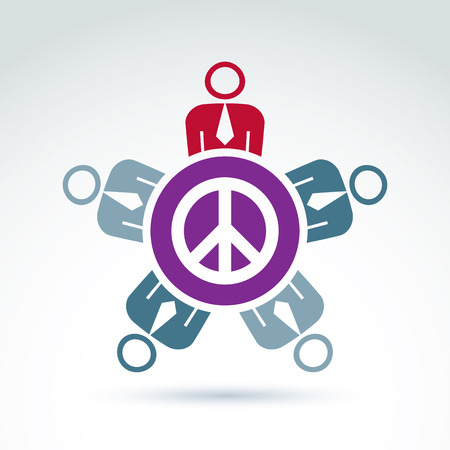 no integrity: Illustration of a group of people sitting around a peace sign, hippy community. Harmony and freedom conceptual icon. Conference on peace theme.