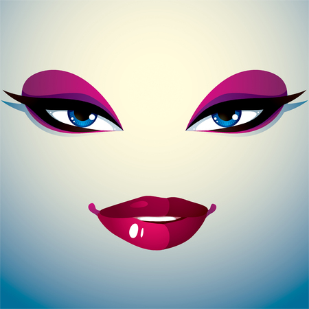 pretty eyes: Cosmetology theme image. Young pretty lady. Human eyes and lips reflecting a facial expression, doubt. Illustration
