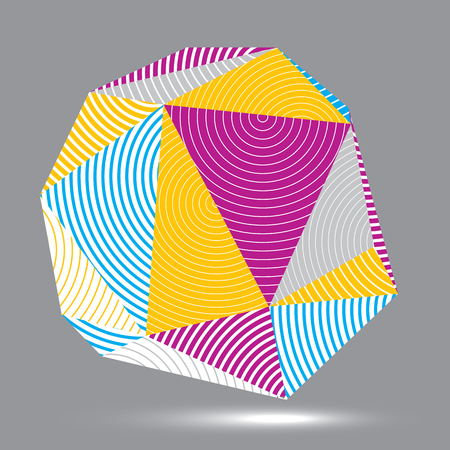 spatial: Vector digital 3d striped abstraction, geometric polygonal element. Spatial technological colorful shape, three-dimensional object.