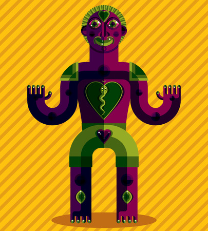 sacral: Vector avant-garde illustration of mythic person, pagan symbol. Modernistic graphic picture, anthropomorphic character isolated. Sacral symbol, meditation concept.
