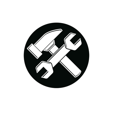 reconstruct: Detailed vector illustration of hammer and wrench crossed, work tools. Industry utensil symbol, mallet and spanner