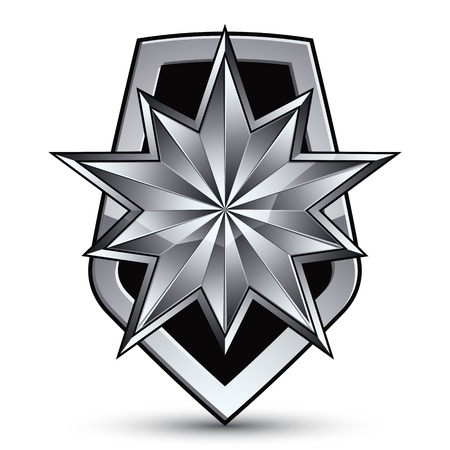 silvery: Sophisticated vector blazon with a silver star emblem, silvery 3d polygonal design element, metallic clear EPS 8. Illustration