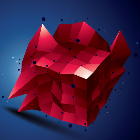 spatial: Spatial vector bright digital object, 3d technology figure with geometric elements and wireframe.
