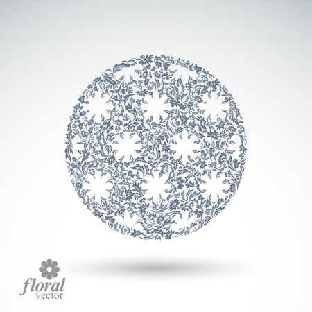 cloudburst: Winter abstract round object with beautiful snowflakes, weather forecast conceptual vector pictogram. Flower-patterned graphic season icon, design image.
