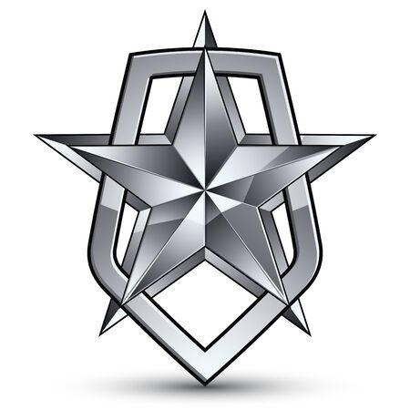 aristocratic: Vector stylized symbol isolated on white background.  Glamorous pentagonal silver star, clear EPS 8, silvery symbolic insignia, aristocratic blazon. Illustration