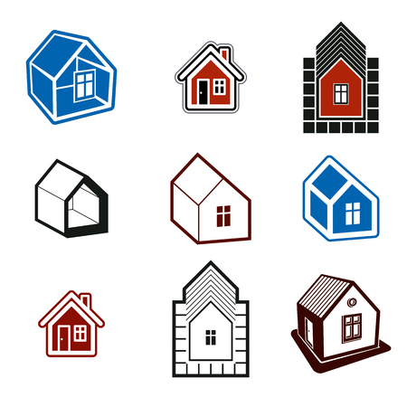frontage: Set of stylish abstract architectural constructions, houses vector symbols, design elements.