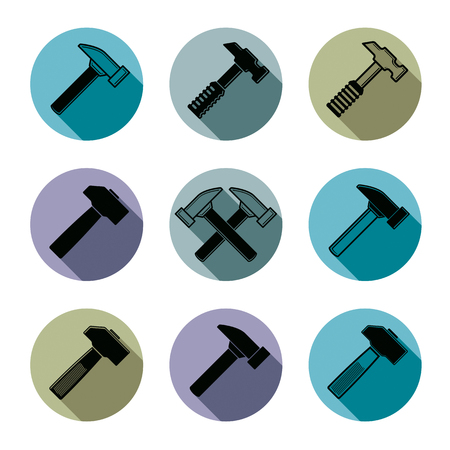 down beat: Repair instruments collection, 3d tools, mallets. Construction idea simple vector objects, design elements. Illustration