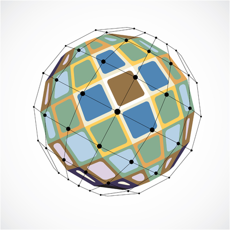 facet: 3d vector low poly spherical object with black connected lines and dots, geometric colorful wireframe shape. Perspective facet orb created with squares.