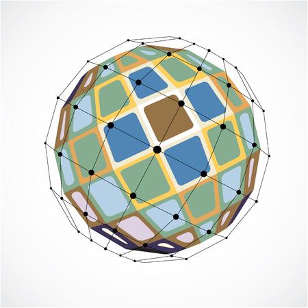 3d 벡터 검은 라인과 점, 형상 다채로운 와이어 프레임 모양 검은 낮은 구형 개체를 연결합니다. 원근감이있는 천체가 사각형으로 만들어졌습니다.