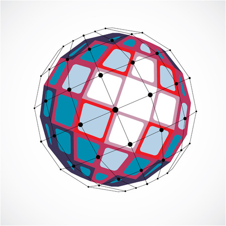 trigonometry: Perspective technology shape with black lines and dots connected, polygonal wireframe object. Abstract red faceted element for use as design structure on communication technology theme Illustration