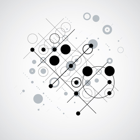 overlie: Bauhaus retro wallpaper, art vector black and white background made using grid and circles. Geometric graphic 1960s illustration can be used as booklet cover design. Illustration