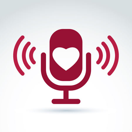 Vector illustration of red microphone with love symbol, broadcast icon. Love song sign. Vektorové ilustrace