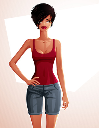 mulatto: Young pretty tanned lady holding her hand on a waist. Vector illustration of a woman standing, full body portrait.