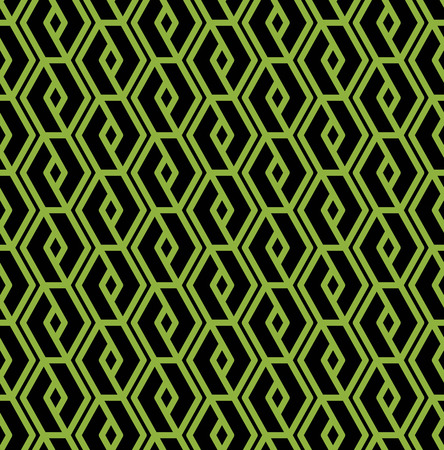 intertwine: Colorful geometric seamless pattern, symmetric endless vector background with intertwine green and black lines. Abstract vertical concept splicing covering. Ornament backdrop.