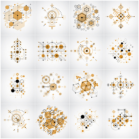 bauhaus: Set of vector Bauhaus abstract backgrounds made with grid and overlapping simple geometric elements, circles and honeycombs. Retro style artworks, graphic templates for advertising poster.
