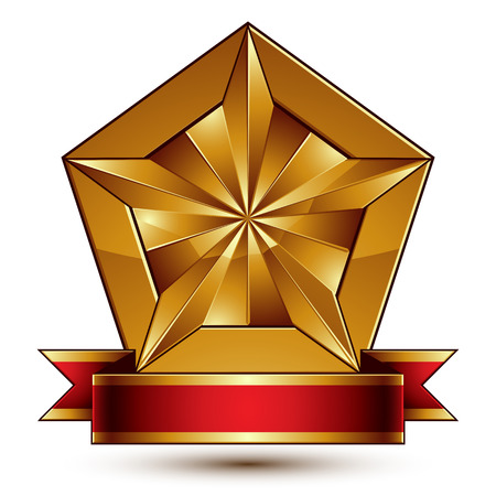 glorious: Vector glorious glossy design element, luxury 3d pentagonal golden star placed on a decorative blazon, conceptual graphic coat of arms with wavy red ribbon, clear EPS 8. Illustration