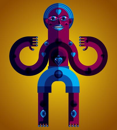 cubismo: ilustración vectorial tema de la meditación, el dibujo de una criatura espeluznante en estilo modernista. ídolo espiritual creado en estilo del cubismo. La relajación y el yoga.