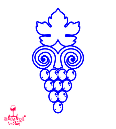 tendrils: Stylized grape vine vector illustration. Winery symbol best for use in advertising and graphic design. Creative Grape with vine tendrils and leaves isolated on white.