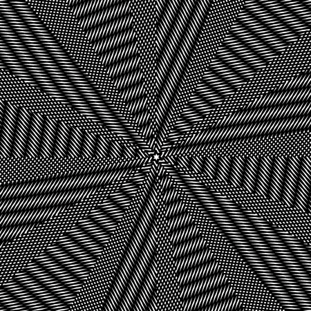 trance: Moire pattern, monochrome vector background with trance effect. Optical illusion, creative black and white graphic backdrop.