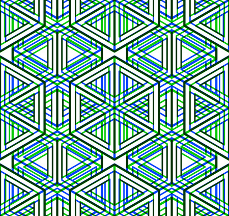 interweave: Colored abstract interweave geometric seamless pattern, EPS10. Bright illusory backdrop with three-dimensional intertwine figures. Graphic contemporary covering.