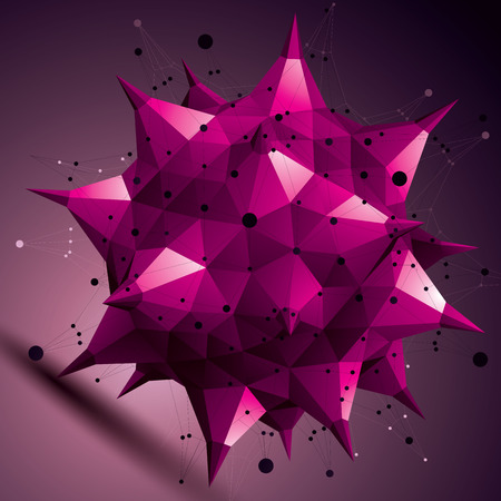 asymmetric: Colorful asymmetric 3D abstract object with connected lines and dots, purple geometric form with lattice structure. Illustration