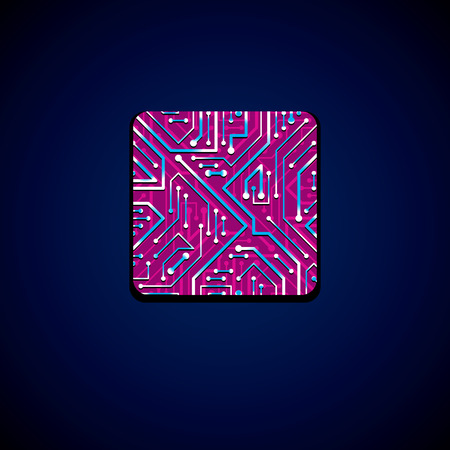 microprocessor: Vector technology cpu design with square luminescent microprocessor scheme. Computer circuit board, digital element with flash effect, magenta. Illustration