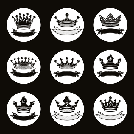 coronet: Black luxury crowns collection isolated. 3d imperial accessories can be used in web and graphic design. High quality vector coronets. Illustration