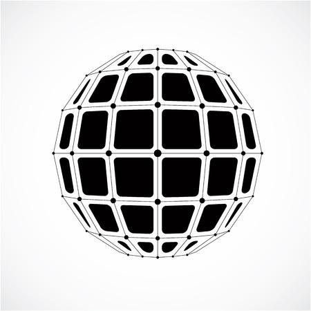 3d vecteur wireframe numérique objet sphérique faite en utilisant les facettes. structure grise polygonale géométrique créé avec des lignes de maillage et de places. forme de poly faible, sous forme de réseau pour une utilisation dans la conception web. Vecteurs