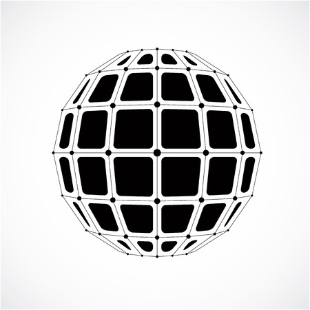 3d vector digital wireframe spherical object made using facets. Geometric polygonal gray structure created with lines mesh and squares. Low poly shape, lattice form for use in web design. Vektorové ilustrace