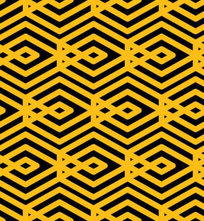 intertwine: Endless vector texture with parallel yellow lines, motif abstract contemporary geometric background. Creative symmetric continuous pattern with intertwine rhombs. Illustration