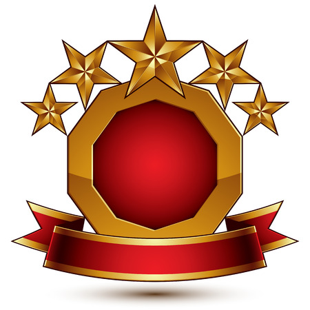 relic: Vector glamorous round element with red filling, 3d polished five golden stars branded symbol with festive ribbon. Dimensional decorative stars, elegant shaped blazon. Eps8. Illustration