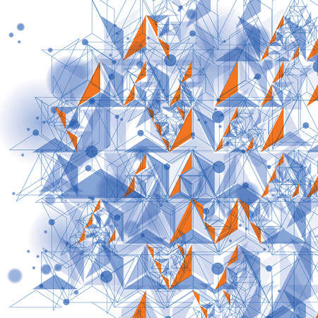spatial: Colorful 3d spatial lattice covering, complicated op art background with geometric shapes, eps10. Science and technology theme. Abstract network, lace backdrop. Illustration
