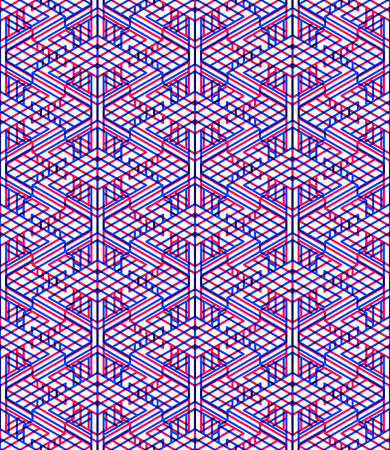 interweave: Bright symmetric seamless pattern with interweave figures. Continuous geometric composition with transparency effects, for use in graphic design.