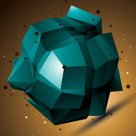 Abstract 3D structure polygonal network object, bright deformed figure. Illustration