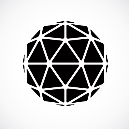 facets: Monochrome dimensional vector low poly object, trigonometry shape. Technology 3d spherical element made with triangular facets for use as design form in engineering. Illustration