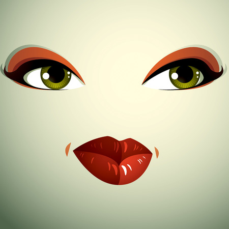 physiognomy: Emotional expression on the face of a cute girl. Beautiful distrustful woman with a stylish makeup. Illustration