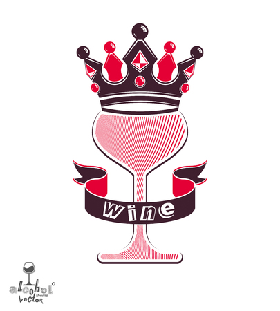 curved ribbon: Majestic wineglass with monarch crown and curved ribbon, art goblet best for use in graphic design. Full glass of wine vector illustration. Lounge theme creative object, eps8.