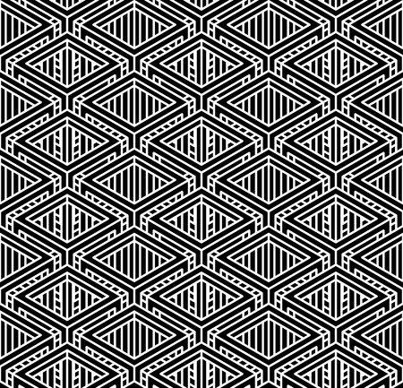 entwine: Monochrome illusory abstract geometric seamless pattern with 3d geometric figures. Vector black and white striped backdrop. Illustration