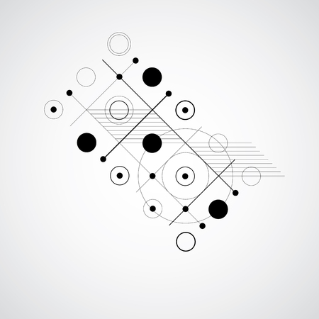 overlie: Vector Bauhaus black and white abstract background made with grid and overlapping simple geometric elements, circles and lines. Retro style artwork, graphic template for advertising poster. Illustration