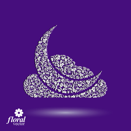 lullaby: New Moon with a cloud beautiful art vector illustration, floral lullaby conceptual icon, nighttime symbol. Floral-patterned moony night abstraction. Illustration