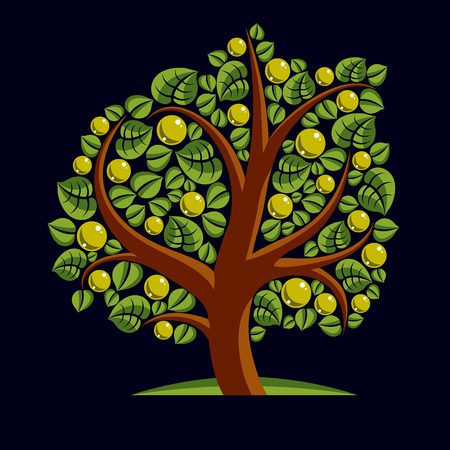genealogy: Fruity tree with ripe apples isolated on white. Wealth and prosperity conceptual illustration.