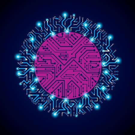 microprocessor: Vector sparkling circuit board circle, digital technologies abstraction. Blue and magenta shine computer microprocessor scheme, neon futuristic design. Illustration